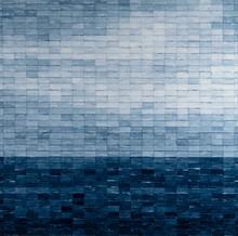 Blue l, 2019, Mixed media on canvas 140 x 140 cm