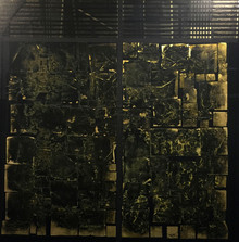 Untitled, 2015, Acrylic, gold leaf and collage on canvas 140 x 140 cm