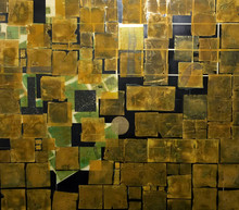 Untitled, 2015, Acrylic, gold leaf and collage on canvas 140 x 160 cm