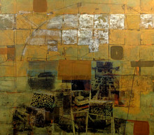 Untitled, 2014, Gold leaf and collage on canvas 140 x 160 cm
