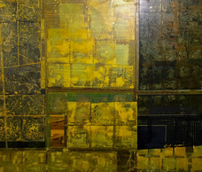 Untitled, 2015, Acrylic, gold leaf and collage on canvas 120 x 140 cm