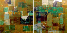 Untitled, 2014, Gold leaf and collage on canvas 100 x 200 cm
