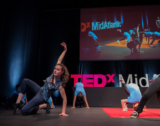 Natalie Boegel and dancers at TEDxMidAtlantic conference