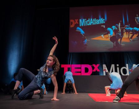 Natalie Boegel and dancers at TEDxMidAtlantic conference