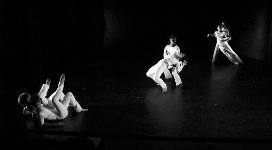 """Natalie Boegel and dancers in Adrienne Clancy's """"In the Eye of the Storm"""" photo by Jon Moore"""