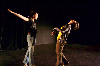 """Natalie Boegel and Hannah Soares in """"conflict/resolve"""" by Adriane Fang photo by Jon Moore"""