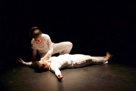 "Natalie Boegel and Hannah Soares in Adrienne Clancy's ""In the Eye of the Storm"" photo by Jon Moore"