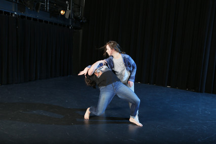 "Natalie Boegel and Hannah Soares in Adriane Fang's ""conflict/resolve"" photo by Peter Yesley"