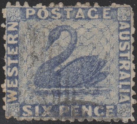 WESTERN AUSTRALIA SG 058x 1864-79 6d Indigo-violet Wmk upright reversed,