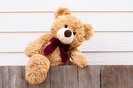 One brown cute teddy bear climbing on th