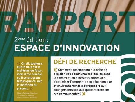 Espace d'innovation (édition 2 - construction d'infrastructures): rapport et lien vers le webinaire