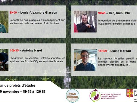Venez en apprendre plus sur les projets de recherche de quatre étudiants de la Team Carbone!