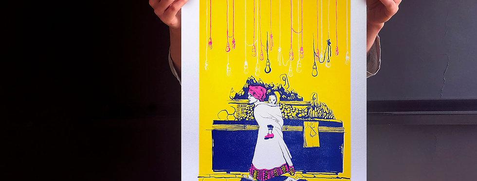 Levinsky Market (Shuk Levinsky) / risograph print, A3 /