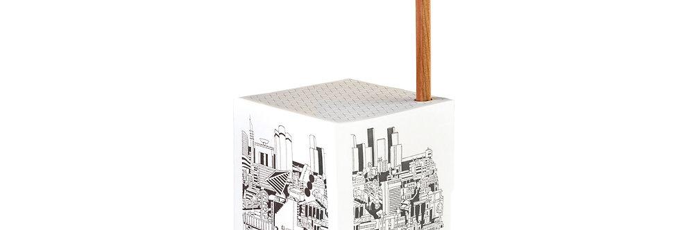 Paper Cube — Tel Aviv Skyline in White