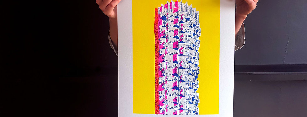 Dizengoff Tower / risograph print, A3 /