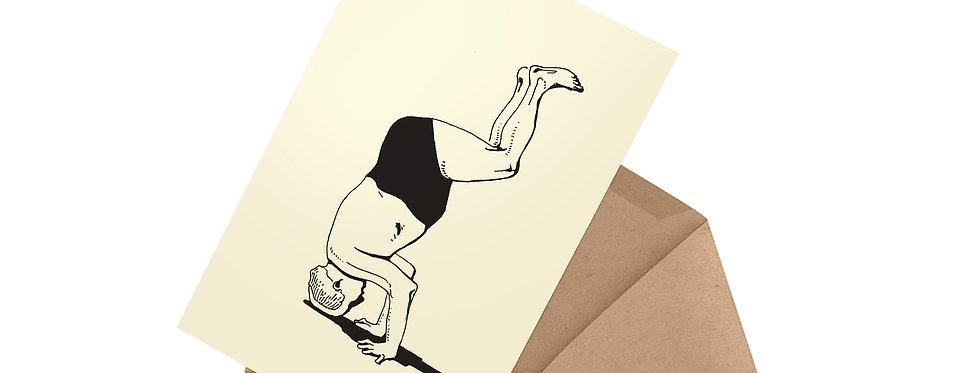 postcard in envelope david ben gurion standing on his head upside down swimming pants tel aviv beach