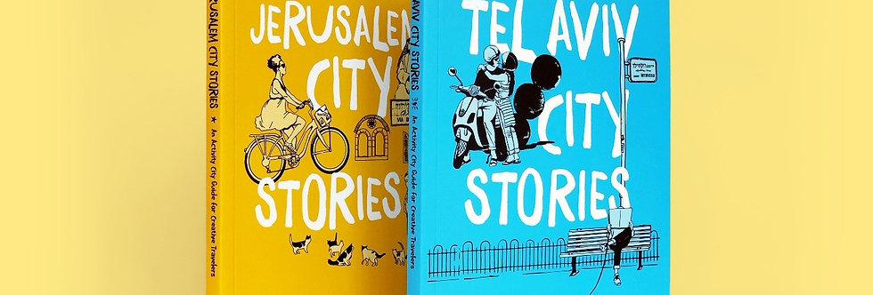 books standing cover illustrated stories couple on motorcycle woman bicycle cats