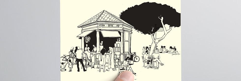 Postcard in hand take away coffee station tel aviv boulevard