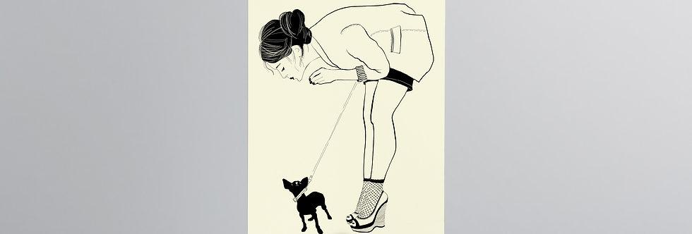 Postcard in hand  Woman cute dog kissing pretty