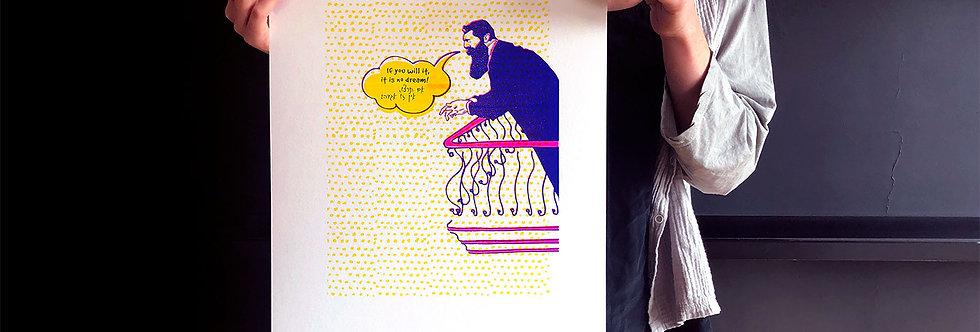 Theodor Herzl / risograph print, A3 /