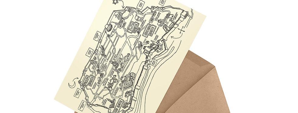 postcard in envelope jerusalem old city map alternative routes
