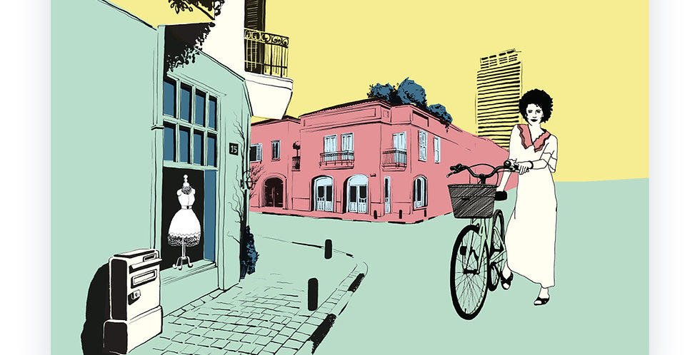 Girl With Bicycle in Neve Tzedek / High Quality Digital Print