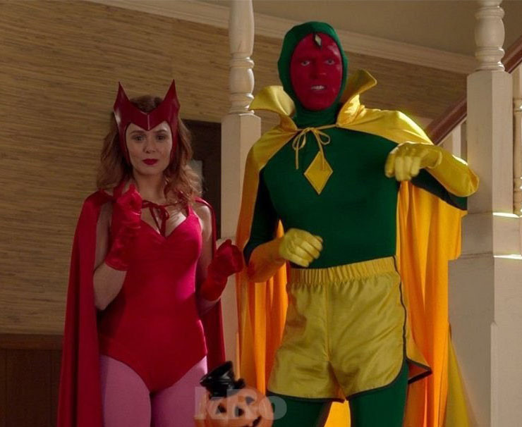 Scarlet Witch circa 1964 and Vision circa 1969
