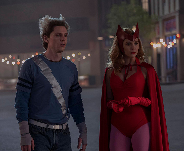 Scarlet Witch and Quicksilver in the West View Town Square
