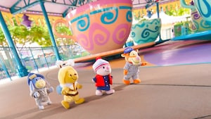 Winnie-the-Pooh and friends NuiMOs at the Alice in Wonderland tea cups