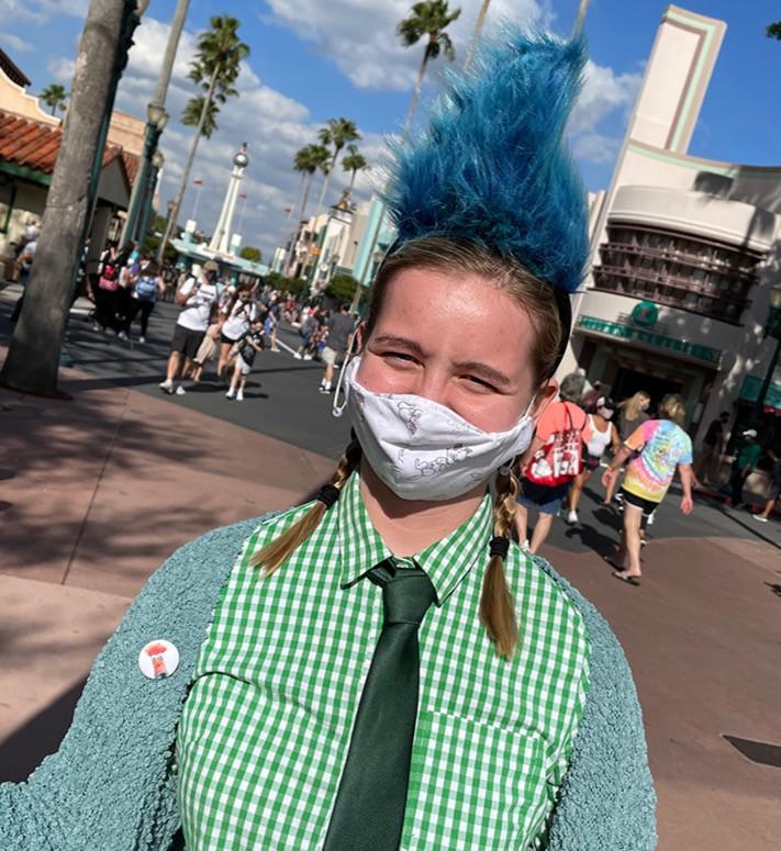 Fiona as Beaker with the Hades headband donated by the Disney Cast Member at Hollywood Studios