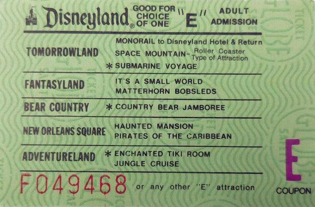 Disneyland E Ticket from 1959
