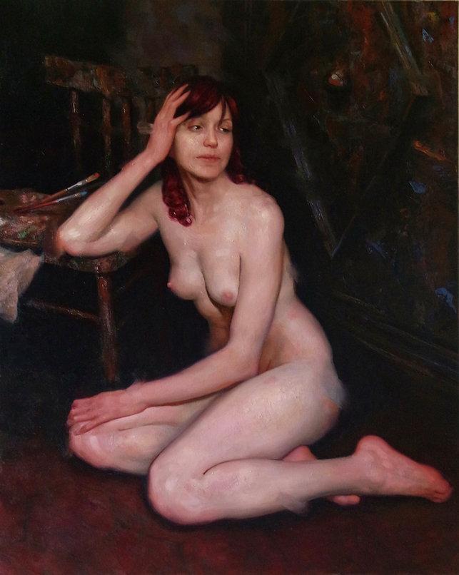 Sitting girl oil painting la pausa