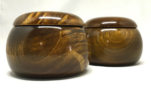 木製碁笥 楠 杢 特大
