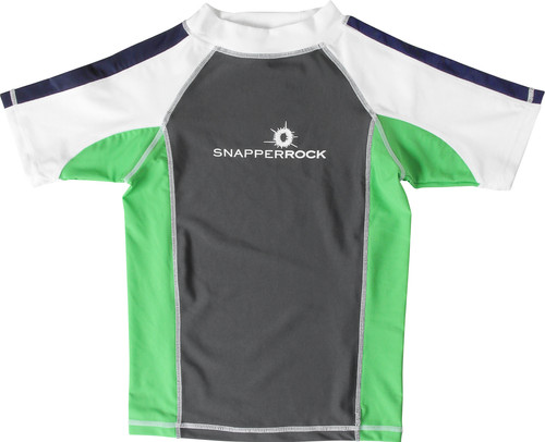 a2174d8058 Snapper Rock Lime/Graphite/Navy Short Sleeve Boys Rashguard