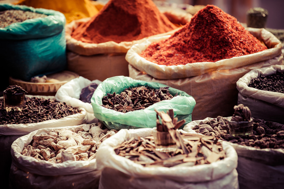 bags of traditional colourful indian spices