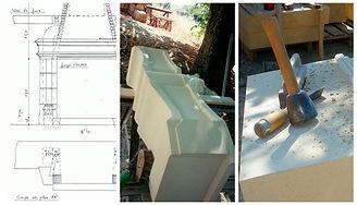 le projet debute par des dessins, ensuite vient la fabrication de la cheminée