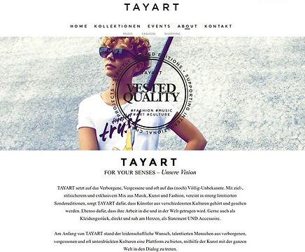 Copywriting in Deutsch und Englisch für www.tayart.com