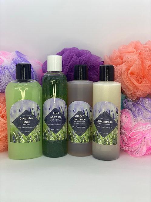 1 - 8oz Bath & Shower Gel & Bath Puff Set