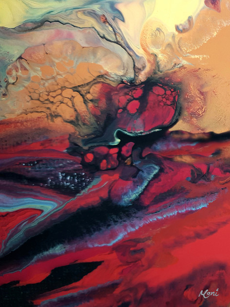 Shades of Passion Abstract Art in Red Bl