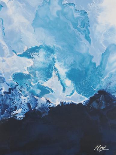 Abstract Wall Art Blue White teal origin