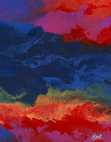 Abstract Wall Art Blue red green pink ye