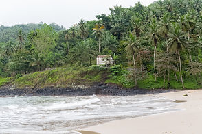 Sao Tome, typical house on the beach, pa