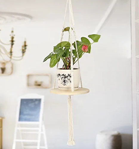 Macrame with circle shelf