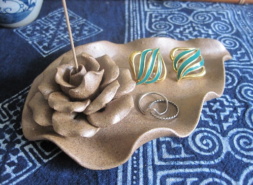 Rose Incense Holder w/ Dish