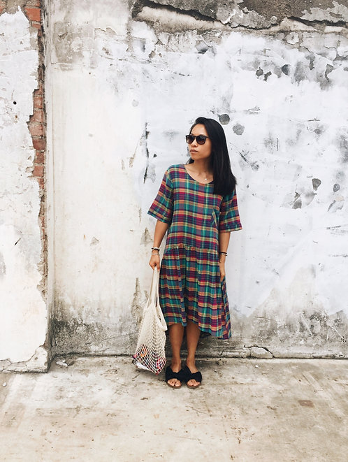 multi colored linen dress | versatile flowy free size dress S/M/L