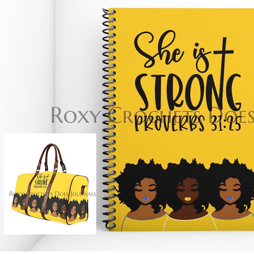 Yellow and Blue I am Strong Matching Journal and Travel Bag (Pre Order)