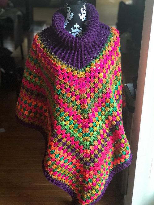 Purple Bright Mix Poncho