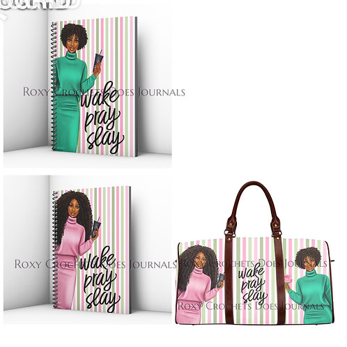 Wake Pray Slay Journal and Travel Bag Set (Pink)  Pre-Order