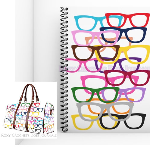 White Glasses Matching Journal and Travel Bag (Pre Order)