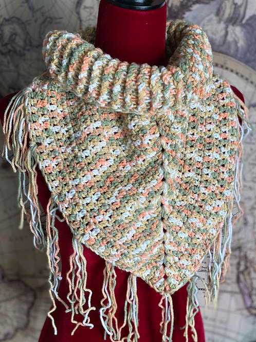 Rib Neck Bib Scarf (Spring colors mix with Tassles)